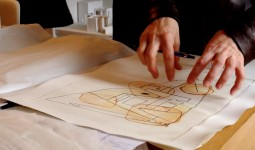 A tapestry of drawings laid across the desks at the offices of McCullough Mulvin Architects